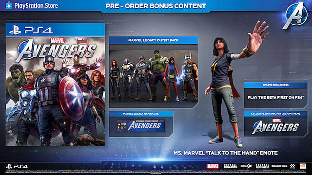 Marvel's Avengers PlayStation 4 pre-order bonus outline.