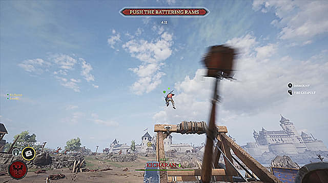 Red armored Mason soldier getting flung out of a catapult.