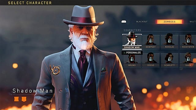 Shadow Man character select screen Black Ops 4