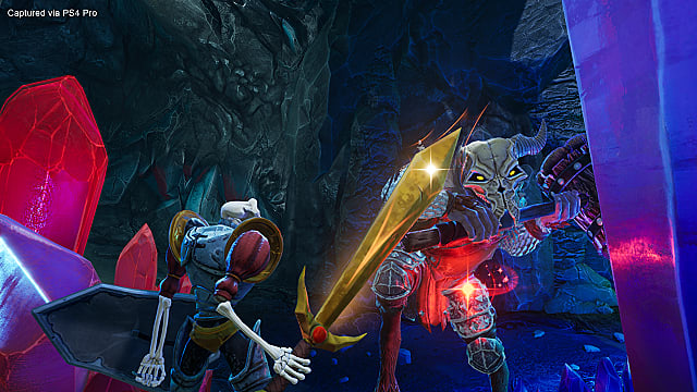 Sir Daniel Fortesque fights a minotaur enemy in MediEvil for PS4