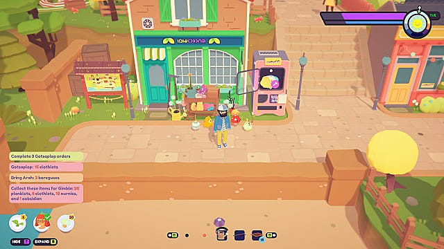 Meed's Seeds shop and Plenny's kiosk next to the Badgetown map.