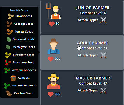 Melvor Idle farmer list.