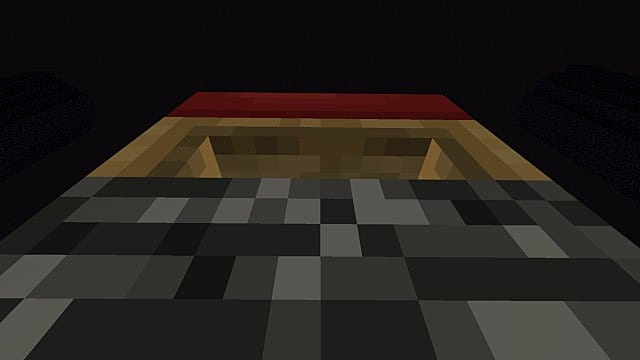 A bed on top of the bedrock fountain in Minecraft.
