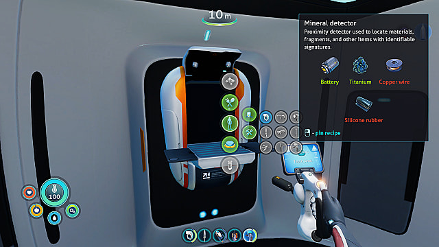 Mineral Detector recipe and fabricator in Lifepod.