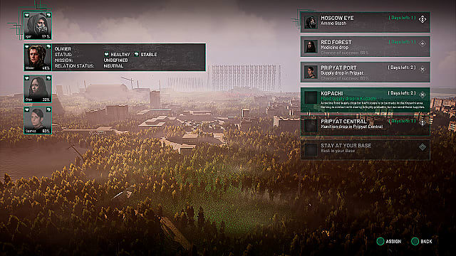 Chernobylite mission select screen showing available quests and recruits.