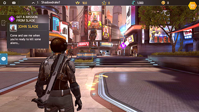 a pop-up indicating that a new mission is available appears in the top-left corner of the screen in Shadowgun Legends