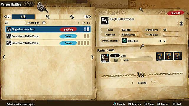 Monster Hunter Stories 2 multiplayer versus menu, seeking a single battle.