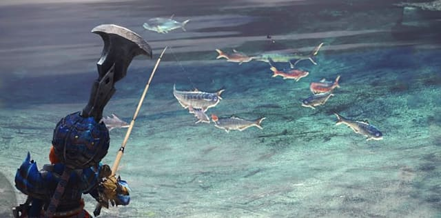 Fishing for aquatic endemic life in Monster Hunter World