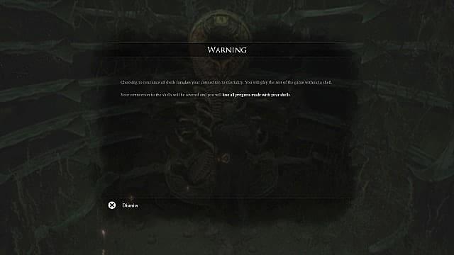Pop up menu warning player that renouncing shells cannot be undone.