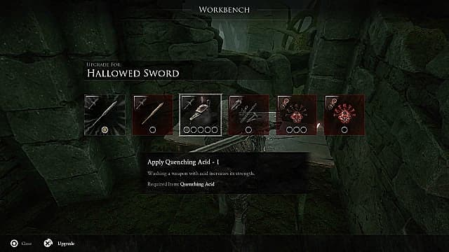 A workbench menu overlaid on a knight and anvil showing various weapon, armor, and gear upgrades in square boxes.