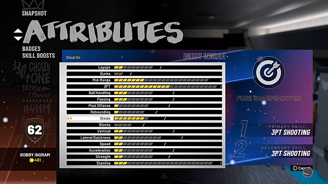 A player attributes panel in NBA 2K19