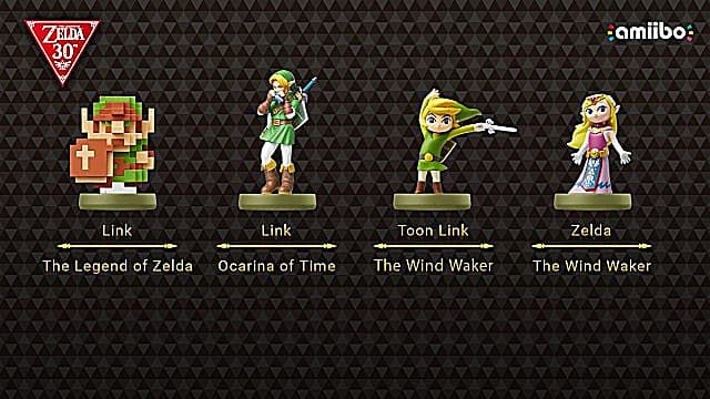 Pixelated Link, Regular Link, Toon Link, and Regular Zelda Amiibo.