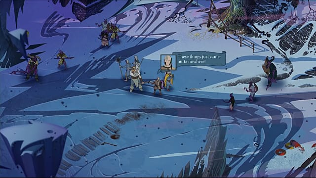 Character meet on a snowy plain in The Banner Saga 3 demo at PAX East 2018