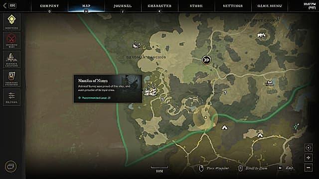 Nautilus of Nunez map location.