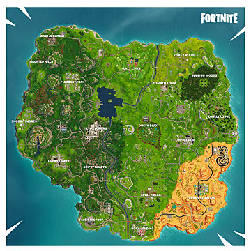 Fortnite's Season 5 Map showing new locations in a desert and Paradise Palms and Lazy Links