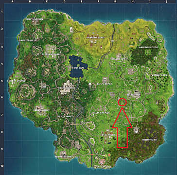 Map with an arrow and a circle indicating where to find the Moisty Mire treasure