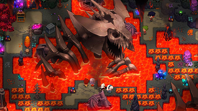 2D, above view of lava area with giant beast skeleton in the middle.