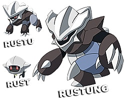 Rustung evolution, from small floating bot to large clawed armor beast.