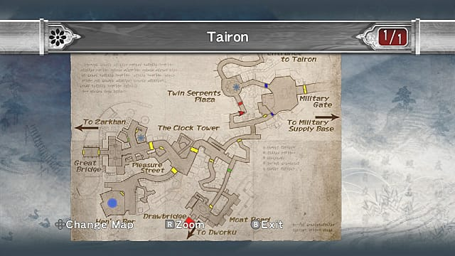 Tairon military gate area map.