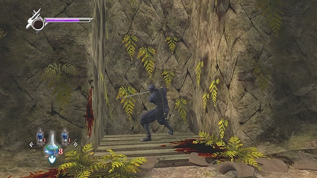 Ryu in black gi holding katana while standing between two cliffs.