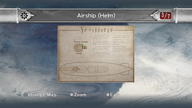 Airship helm map showing fore cabin.