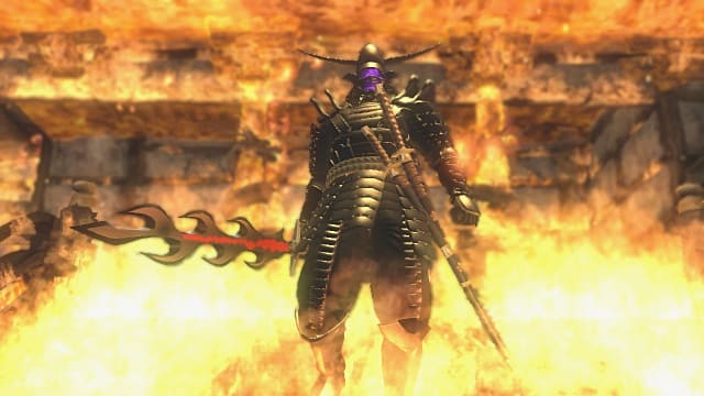 Doku in black armor holding a flame-shaped sword standing in front of a fire.