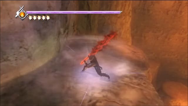 Ryu in attack stance with the long Dark Dragon Blade covered in dark red flames.