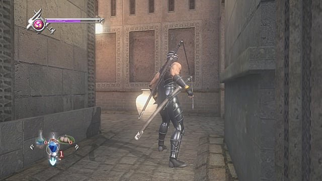 Ryu standing in a lit alleyway looking at a beige standing pot.