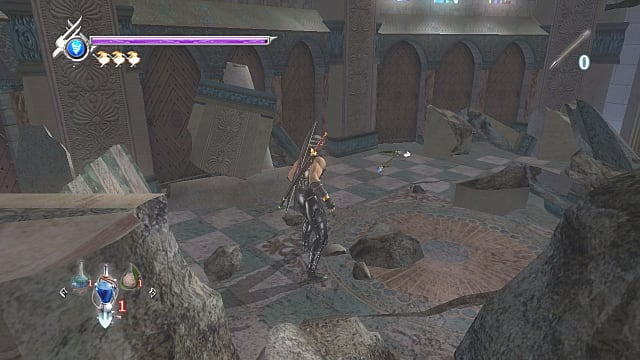 Ryu standing in monastery ruins with a war hammer floating above the stone ground.