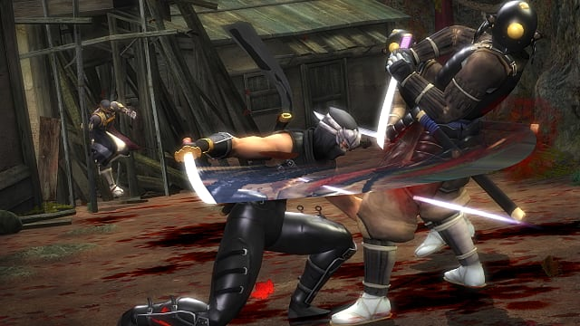 Ryu slicing an enemy in the stomach with a katana.