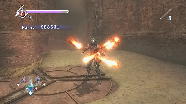Ryo using a fire ninpo scroll with four flame columns shooting out from his body.