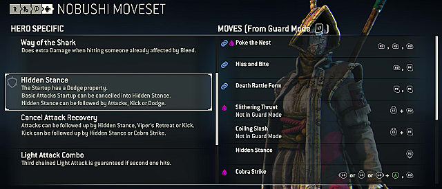 for honor nobushi moves