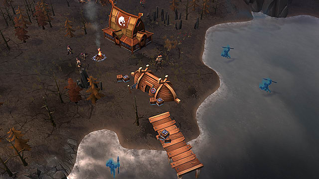 Ghostly fallen sailors attack a Northgard settlement from the sea