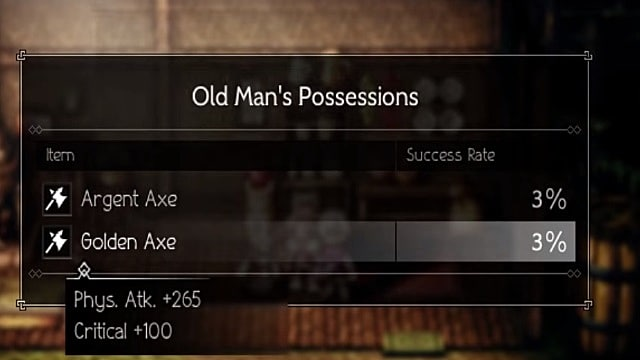 An Octopath Traveler Menu Shows the Old Man's Possessions and the Chance of Stealing the Game's Golden Axe