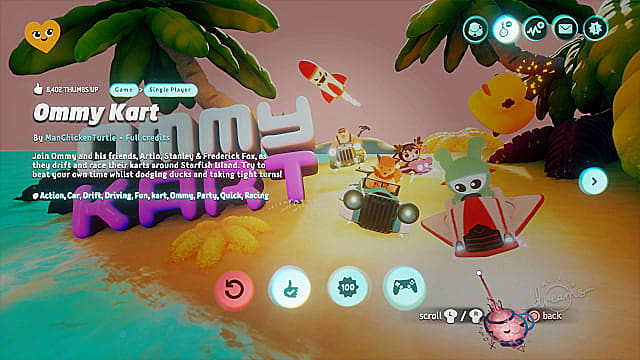 Ommy Kart is Dreams' Mario Kart, just without the multiplayer.
