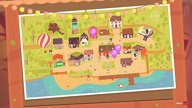 El mapa de la ciudad de Badgetown que muestra la ubicación del globo de Gimble.
