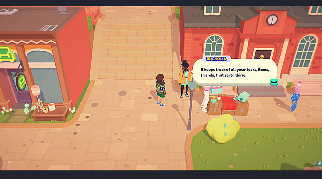 Standing on a brick pathway speaking to Rugnolia by the Town Hall in Ooblets.
