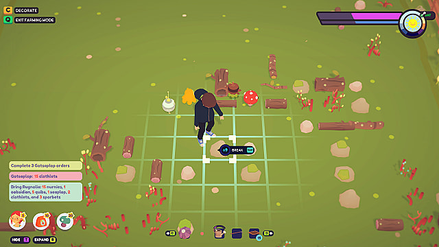 Breaking a rock on an Ooblets farm, looking for nurnies.