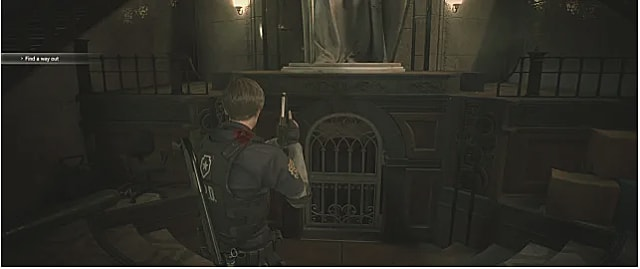 Steps leading to the RPD basement under the statue in RE2.