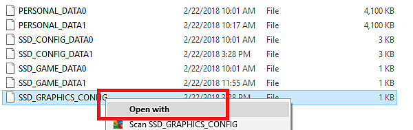 Opening the SSD_GRAPHICS_CONFIG file with Notepad