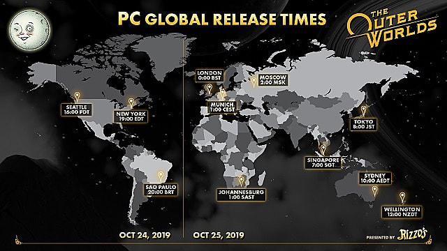 Global launch times for The Outer Worlds on PC