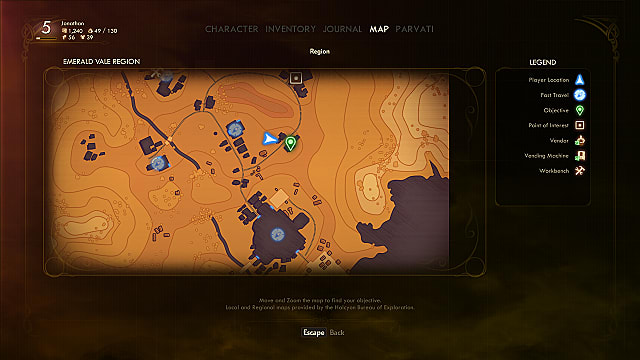 A map showing the location of The Abandoned Outpost in The Outer Worlds.