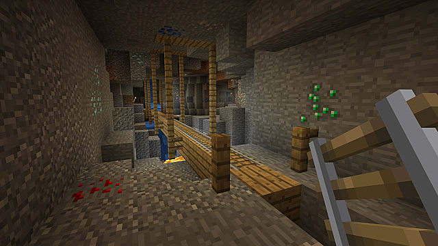 Minecraft Bedrock Edition in a Mineshaft holding a ladder