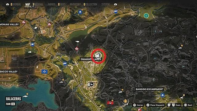 Map of Papacito's location in Castillo National Zoo, Diamante Lakes.