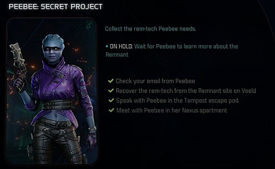 mass effect andromeda peebee side mission