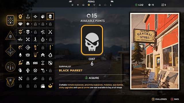 Far Cry 5 perk selection screen for the black market skill