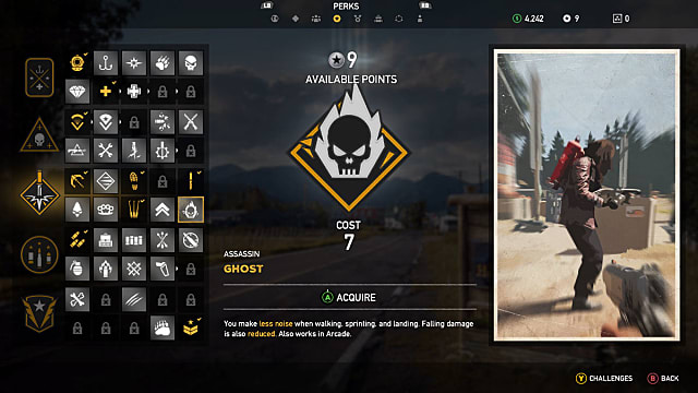 Ghost skill selection screen in Far Cry 5
