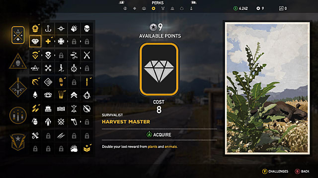 Screen showing how to choose Harvest Master skill in Far Cry 5