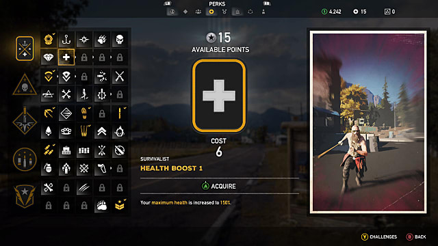 The Far Cry 5 screen for the Health Boost skill