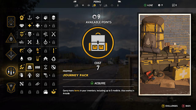 Screen displaying the Journey Pack Perk in Far Cry 5